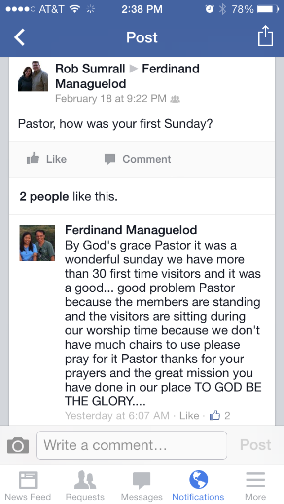 Great news from Pastor Ferdie!
