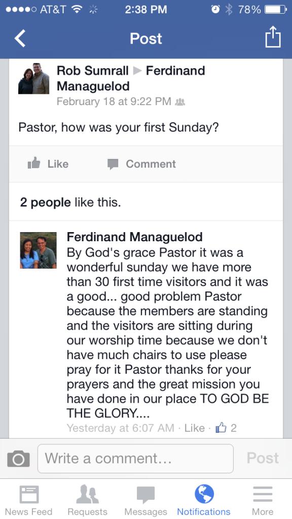 Great news from Pastor Ferdie!